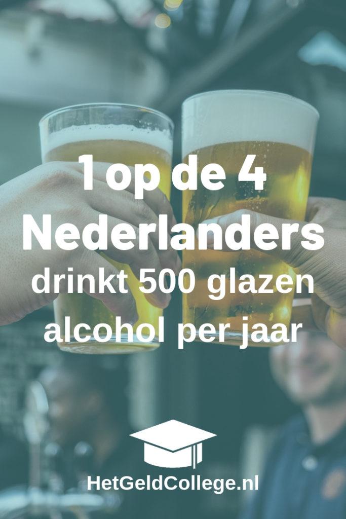 1 op de 4 Nederlanders drinkt 500 glazen alcohol per jaar