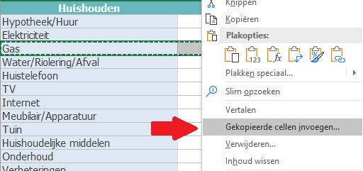Huishoudboekje Excel Uitleg Stap 5
