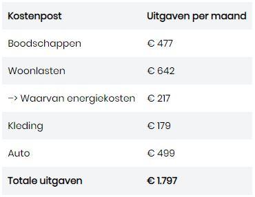 Gemiddelde uitgaven gezin per maand